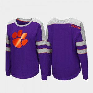 Clemson University Womens T-Shirt Purple Long Sleeve Trey Dolman Stitch 532851-541