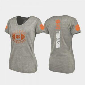 Clemson #35 Women Ty Thomason T-Shirt Gray College College Football Playoff V-Neck 2018 National Champions 249101-136