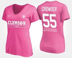 Clemson University #55 Women's Tyrone Crowder T-Shirt Pink High School With Message 996299-415