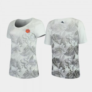 Clemson National Championship Women T-Shirt White Stitch Floral Victory Tommy Bahama 685086-794