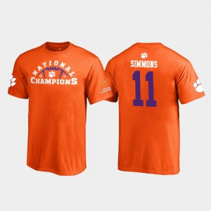 Clemson Tigers #11 Kids Isaiah Simmons T-Shirt Orange Official 2018 National Champions Pylon 655403-711