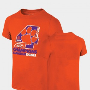 Clemson Tigers For Kids T-Shirt Orange Stitched 2018 ACC Football Champions Locker Room Original Retro Brand 797695-743