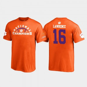 Clemson National Championship #16 For Kids Trevor Lawrence T-Shirt Orange College 2018 National Champions Pylon 204951-706